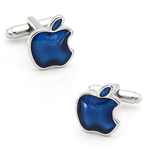 Tongran Manschettenknöpfe Herren, Manschettenknöpfe Herren Hochzeit, Herren Apple Manschettenknöpfe Kupfer Material Blau für Hemdmanschetten