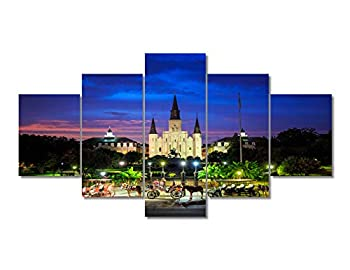 5 Piece Canvas Wall Art United States Cityscape Paintings Home Decor Saint Louis Cathedral Skyline Prints on Canvas Louisiana Jazz Modern Artwork Picture for Living Room Ready to Hang 60 Wx32 H