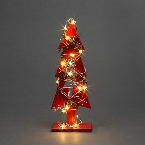 Centro de Mesa LED de Madera roja de 30 cm con 20 ledes de Color Blanco cálido
