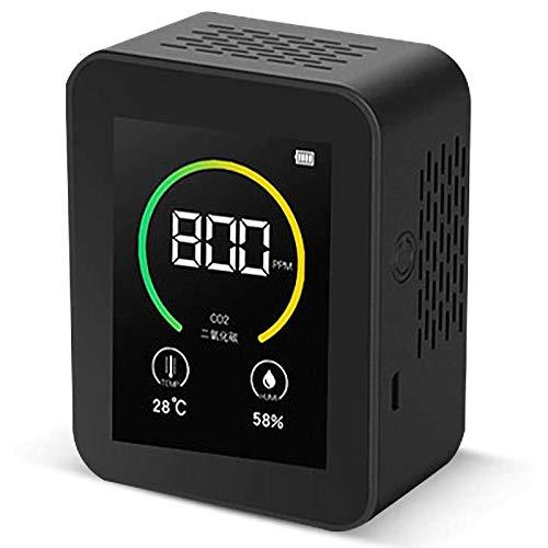 CO2 Meter Detektor Gas Konzentration Inhalt Intelligente Luft Tester Air Qualität Analyzer mit Temperatur Feuchte Display schwarz