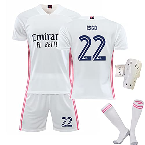 YLHLZZ Jersey de fútbol para Hombres, Tops de fútbol para el hogar Pantalones Uniformes, 9 Benzema # 11 Bale # 12 Marcelo # 16 James # 22 ISCO Fans Jerseys 22-28
