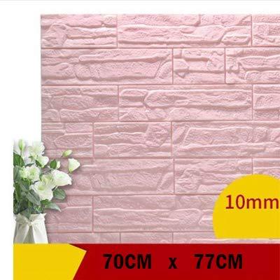 HSGei 3D Wandpaneele für Wohnzimmer 3D Brick Stone Wall Papers für Kinderzimmer Schlafzimmer Home Decor 3D-Wasserdichtes Self Adhesive Wallpaper,Rosa,70 cm X77 cm