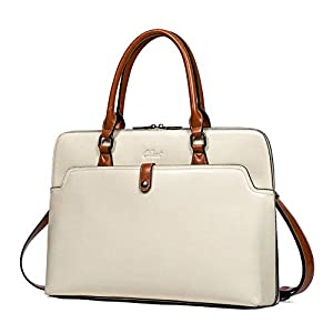 CLUCI Briefcase for Women Oil Wax Leather 15.6 Inch Laptop Slim Business Large Capacity Ladies Shoulder Bags 4