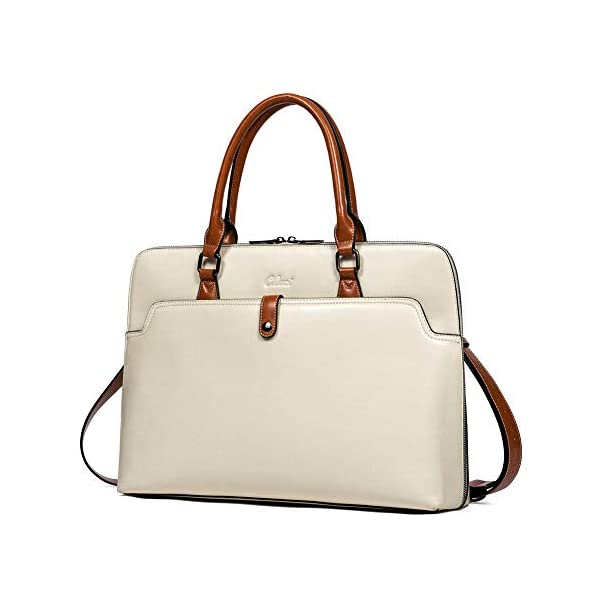 CLUCI Briefcase for Women Oil Wax Leather 15.6 Inch Laptop Slim Business Large Capacity Ladies Shoulder Bags 1