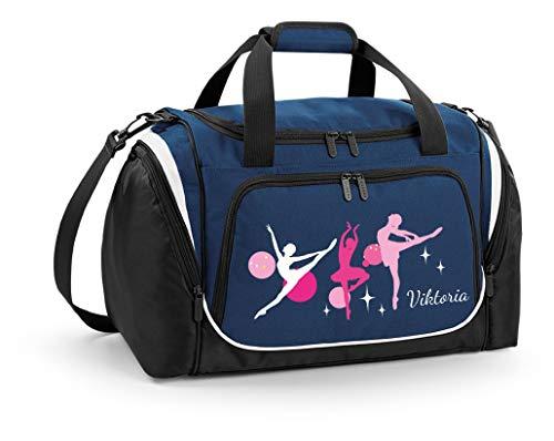 Mein Zwergenland Sporttasche Kinder personalisierbar mit Schuhfach, Kindersporttasche 39L mit Name und Ballerina Bedruckt in French Navy Blau