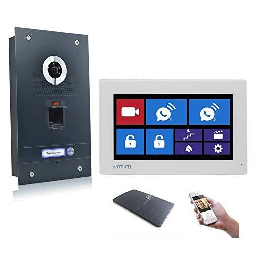 Fingerprint Video Türsprechanlage Gegensprechanlage mit 7″ Monitor, mit oder ohne WLAN Schnittstelle, Fischaugenkamera 170 Grad, Größe: 1x7'' Monitor mit WLAN Schnittstelle