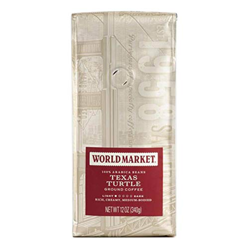 World Market Texas Turtle Ground Coffee – Pure Medium Classic Roasted Powdered Coffee | Perfect for Morning Coffee with Caramel, Chocolate and Pecan Flavors | 12 Ounce