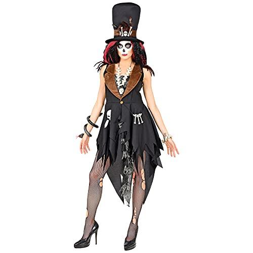 WIDMANN 10731 10731 - Disfraz de pristerina de vudú, vestido, sombrero, bruja, fiesta temática, Halloween, mujer, multicolor, S