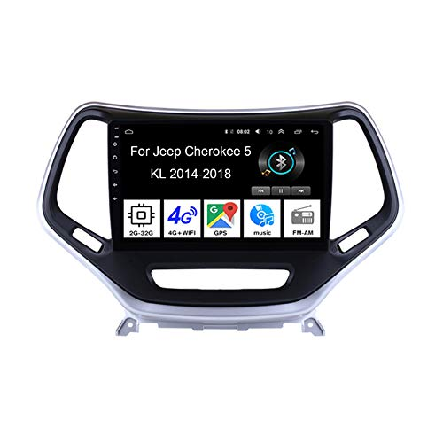 Autoradio Mit Navi Car Stereo Radio Coche Pantalla Tactil Coche GPS Navegación para Jeep Cherokee 5 KL 2014-2018 4 Cores 2G+32G Conecta Y Reproduce Cámara De Respaldo Estéreo De Coche Auto