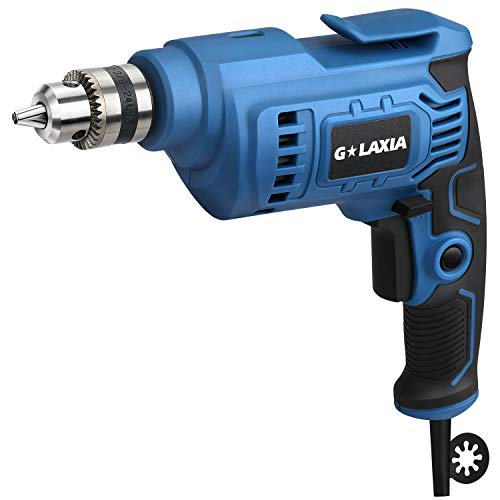 G LAXIA Corded Drill 4.2 Amp,3/8 Inch, Metal Keyless Chuck,0-3200RPM Variable Speed, Rubber Over-Molded Handle for Iron,Aluminum Alloy,Wood, PVC, Light Bricks