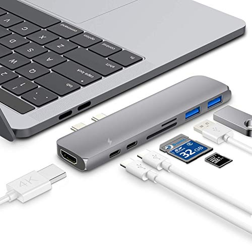 XASY USB C-hub, aluminium USB-C-hub adapter, multi-functionele USB C HUB, Type C hub met HDMI, 40 Gbps Thunderbolt 3, USB-C Power Delivery, SD and Micro SD/TF Card Reader, 2 USB 3.0 poorten voor MacBook Pro