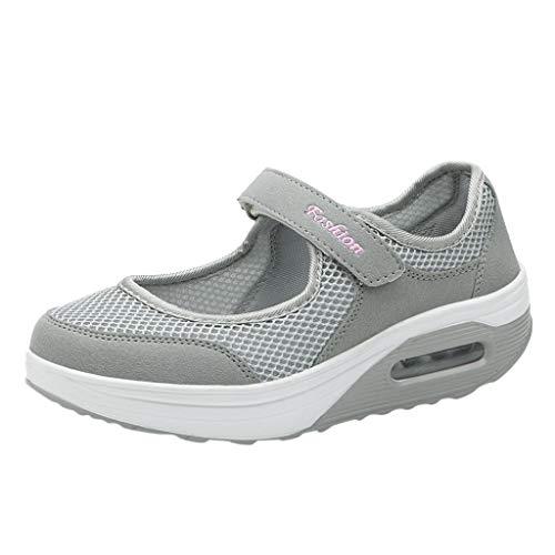 LANSKIRT Zapatos Mujer Verano 2019 Sandalias Moda Casual Transpirable Zapatos de Plataforma Ligera de Velcro Zapatillas Deportivas Running (Gris, 40 EU)