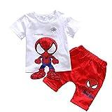 ベビー服 子供服 赤ちゃん服 上下セット スパイダーマン ルームウエア 男の子 キッズ パジャマ 半袖 Tシャツ パジャマ キッズ 半ズボン 短パンツ (D Red,90cm)