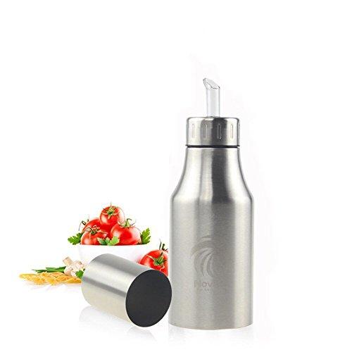 Novata Acciaio inossidabile Olio e Aceto ampolla cucina salsa liquido Condimento bottiglia distributore prova della polvere ea prova di perdite con beccuccio oliera bottiglia (500ML)