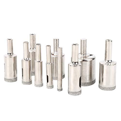 LANTRO JS - 10 piezas 6‑30 mm Sierra de perforación de núcleo de alta resistencia Abridor de brocas de mármol recubierto de diamante para baldosas de vidrio