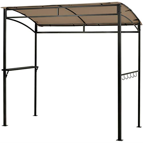 Brown Heavy-duty 7'x4.5' Grill Gazebo With Stylish Arch Canopy Utensil Hooks And Solid Storage Shelf Weather-resistant Tent Perfect For Hosting BBQs Picnics And Outdoor Parties With Friends And Family