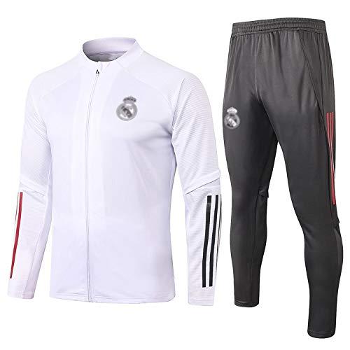 HIAO Europäische Fußball-Trainings-Uniform der Männer Breath Langarm Weiß Sportanzug - A1002 502 (Color : White, Size : L)