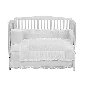 Baby Doll Bedding Luxury 4 Piece Crib Bedding Set (Bumper, Sheet, Crib Skirt, Quilt) Sweet Touch Crib Bedding Set, Unixex for Baby Girls or Boys, White