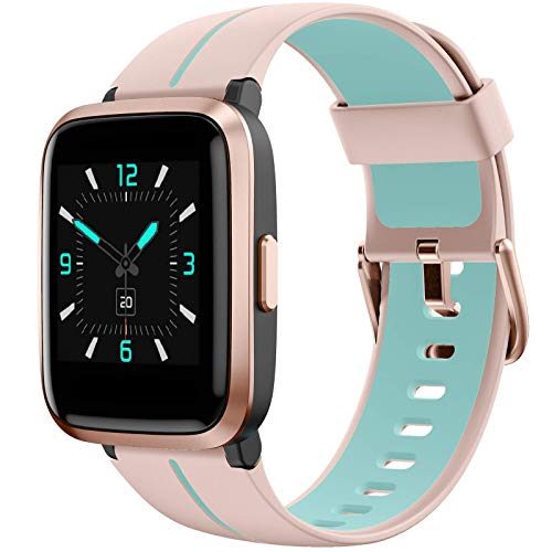 AIKELA Smartwatch,Relojes Inteligentes Mujer Hombre,Deporte Reloj de Fitness con Impermeable IP68,Actividad Monitores de Datos Físicos/Ciclo Menstrual Femenino,Compatible con Android iOS Rosa