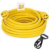 S7 25 Feet Heavy Duty Generator Locking Power Cord NEMA L14-30P/L14-30R,4 Prong 10 Gauge SJTW Cable, 125/250V 30Amp 7500 Watts Yellow Generator Lock Extension Cord (Y)