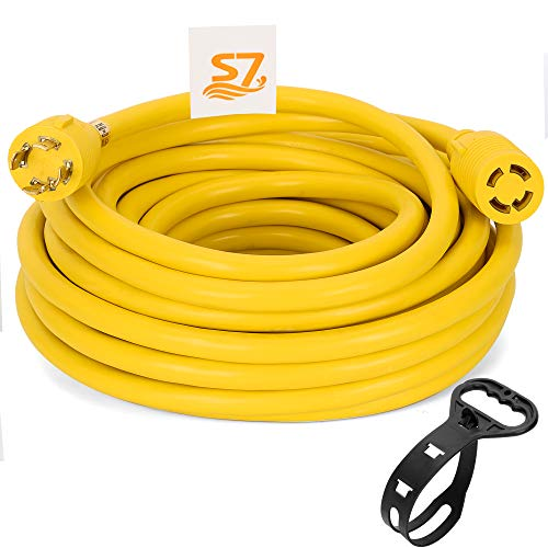 S7 50 Foot Heavy Duty Generator Locking Power Cord NEMA L14-30P/L14-30R,4 Prong 10 Gauge SJTW Cable, 125/250V 30Amp 7500 Watts Yellow Generator Lock Extension Cord (Y)