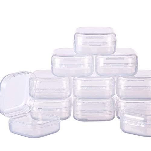 Zuzer 50 Piezas Caja Contenedor de Plástico Transparente de Rectángulo Pequeño Caja de Almacenamiento Storage Box con Tapa para Pastillas Joyería y Otros Articulos Pequeños 3.5x3.5x1.7cm