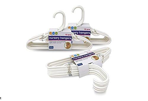 Delta White Nursery Hangers For Baby, Toddler, Kids, Children (3 Packs of 10) by Delta