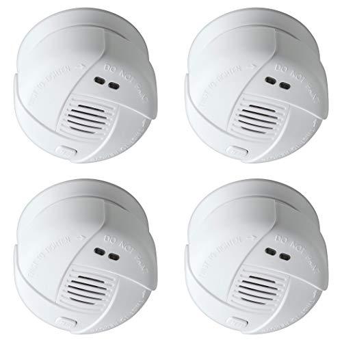 SEBSON 4X Mini Detector de Humo 10 años, DIN EN 14604, VDS 3131, fotoeléctrico, Batería de Litio de Larga duración, Mudo, Ø 69x46mm
