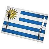RaglMtC - Juego de 6 manteles individuales de bandera uruguaya, lavable, antideslizante, resistente al calor, para cocina, comedor, mesa, 12 x 18 pulgadas