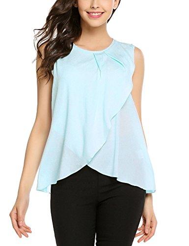 Meaneor Tops Damen Tank Armlos Shirt Rundhals Bluse Tunika sexy Oberteil Blau Oberteil Large Shirt 40 Shirt für Damen