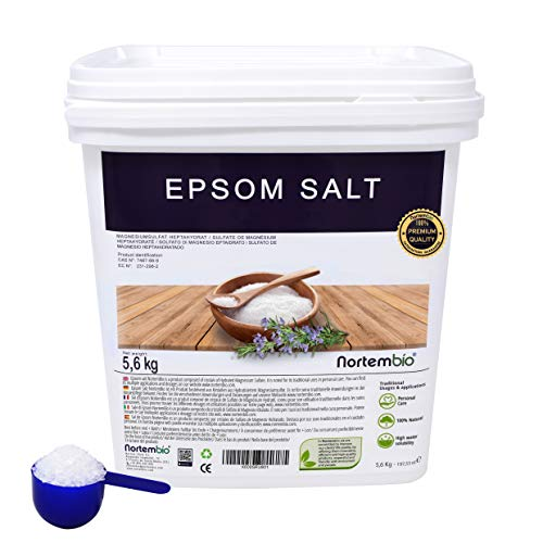 Epsom Salz NortemBio 5,6kg, Konzentrierte Magnesiumquelle, 100{d2178377759130c0c5c4dc283f2e8e113e7fcbc0c83abb2fa337dad9aeffaec6} Natürliches Salz. Bad und Körperpflege.