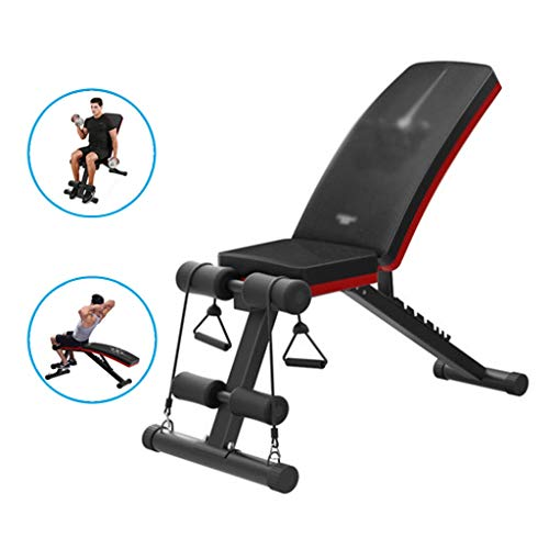 Dumbbell Bench Bench Bench sit-up Board sit-ups Fitness Equipment Home Abdominal Board Multifunctional Folding Gym Chair (Color : Black, Size : 113 * 50 * 140cm)
