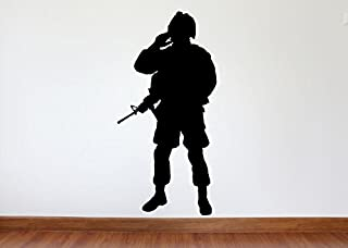 Maxx Graphixx Soldier Wall Decal - Soldier Military Silhouette Vinyl Decal - Soldier 5 (Black, 27