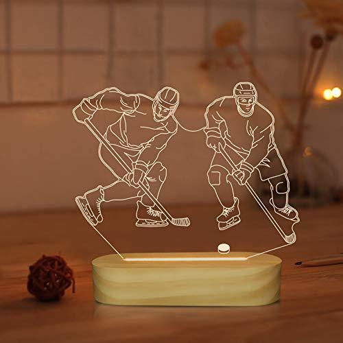 3D optische Täuschung Eishockey Nachtlicht LED warme Farben Dekor Tischlampe für Kinder Jungen Männer Weihnachten Geschenke