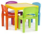 Tot Tutors, Vibrant Kids Plastic Table and 4 Chairs Set, Colors