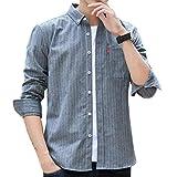 ODFMCE シャツ メンズ 長袖 オシャレ ストライプ ビジネス カジュアル 大きいサイズ (グレー, XL)
