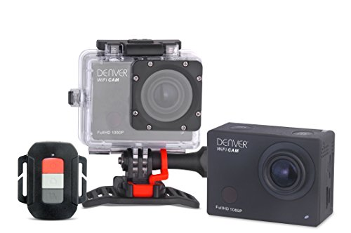 Denver ACT-8030W Full HD Actioncam (WiFi, 5,1 cm (2,0 Zoll) Display, CMOS Sensor, USB) inkl. wasserdichtem Gehäuse bis 55 m