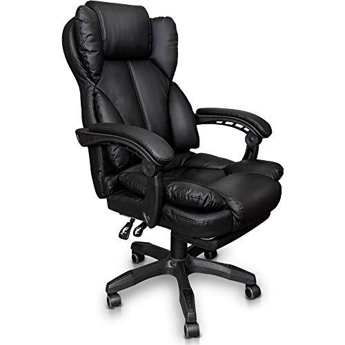 Trisens Schreibtischstuhl Bürostuhl Gamingstuhl Racing Chair Chefsessel mit Fußstütze, Farbe:Schwarz