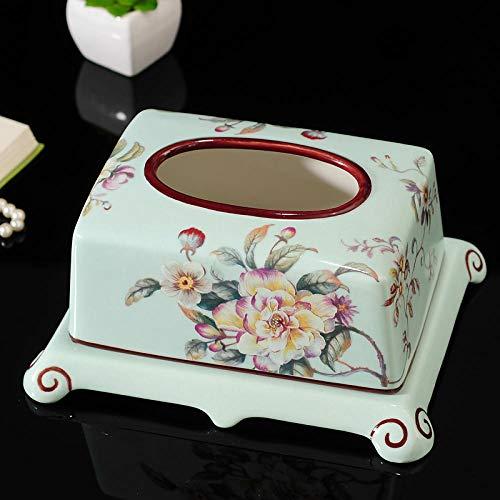 Joeesun Amerikanische Keramik Tissue Box Zuhause Wohnzimmer Tablett frei Stanzen europäischen Stil Hotelzimmer Toilettenpapier Box Tissue Box, hellgrün reichen Blüten