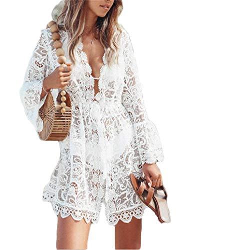 Eghunooye Damen Crochet Kimono Cardigan Bikini Cover Up, Vorzüglich Spitzen Strandpocho Kaftan Strandkleid,Boho Beachwear Kleid für Urlaub Strand (Beige, XL)