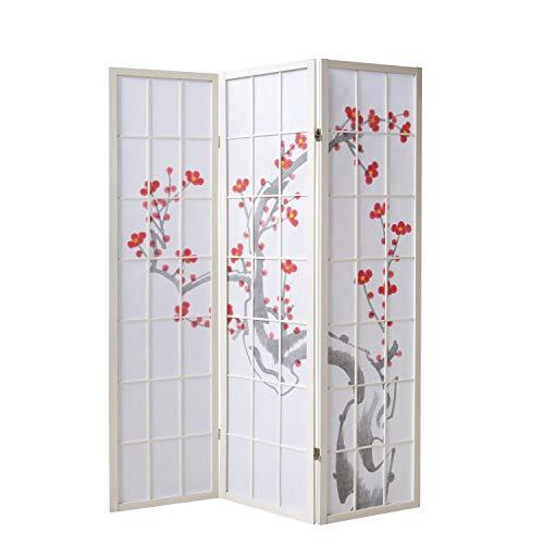Homestyle4u 276, Paravent Raumteiler 3 teilig, Holz Reispapier, Weiß Kirschblüten Motiv
