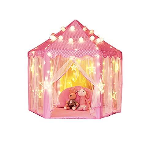 MKVRS Teepee DE NIÑOS, CASA DE Juego Interior, Super Big GURN Castle, CASA DE Principio DE Juego Juguete TEJERO PEQUEÑA CASA PEQUEÑA CASA 140 * 140 * 135cm (Color : Pink, tamaño : Plastic Bracket)