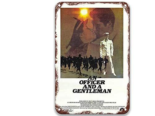 NNHG Un oficial y un caballero (1982), signos de lata de metal con películas vintage, sentido del arte para el hogar, garaje, barra de dormitorio personalizada, 20 x 30 cm