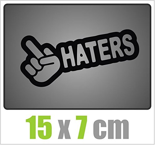 Dinger-Design Fuck Haters Aufkleber JDM Style Sticker OEM Tuning Decal Stickerbomb schwarz 15x7cm