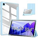 DUZZONA Funda Compatible con Samsung Galaxy Tab A7 10.4 2020 (T500 T505 T507),Superligera Transparente Carcasa con Soporte Flegable Función Auto Reposo/Estela,para Tab A7 2020,Azul