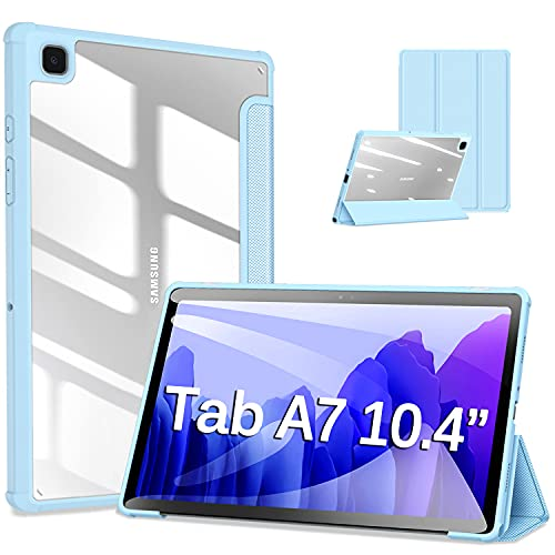 DUZZONA Custodia Cover per Samsung Galaxy Tab A7 10.4''2020(T505/T500/T507),Smart Cover Ultra Sottile,Protettiva Custodia Rigida Sottile PC Traslucida per Tab A7,Automatica Svegliati/Sonno,Blu