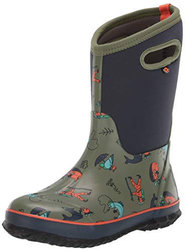 BOGS Kids Classic High Waterproof Insulated Rubber Neoprene Snow Rain Boot, David Rollyn - Olive Multi, 4 M