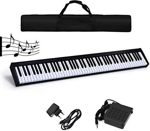 RELAX4LIFE Digitale Klaviertastatur, Piano Tastatur mit 88 Tasten, E-Piano mit Tragetasche und Pedal, Keyboard mit Bluetooth- und Lehrfunktion, elektrisches Piano für Kinder und Einsteiger, schwarz