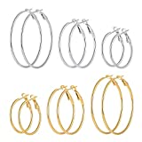 6 Pairs Stainless Steel gold silver Plated Hoop Earrings for Women Girls (30.40.50mm)