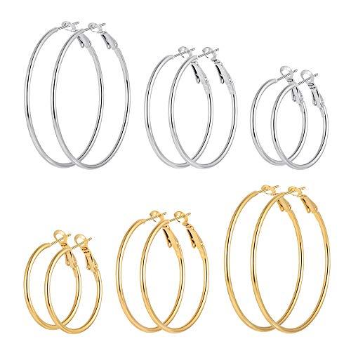 6 Pairs Stainless Steel gold silver Plated Hoop Earrings for Women Girls, Hypoallergenic Hoops Women's Earrings Loop Earrings Set (30.40.50mm)